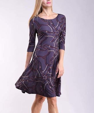 Lbisse Women's Casual Dresses Gray - Gray & Wine Geometric Fit & Flare Dress - Women