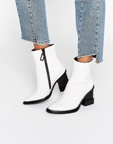Kat Maconie Paloma White Croc Leather Heeled Ankle Boots