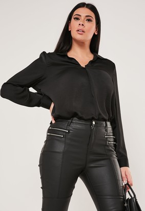 Missguided Plus Size Black Pleat Front Oversized Shirt