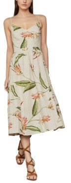 BCBGMAXAZRIA Printed Eyelet Midi Dress
