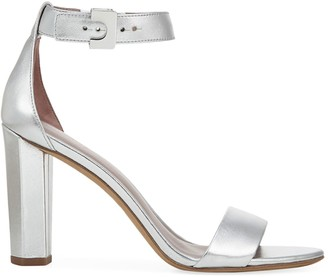 Diane von Furstenberg Chainlink Ankle-Strap Metallic Leather Sandals
