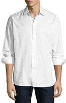 Robert Graham R by Jungle Tonal Jacquard Sport Shirt, White