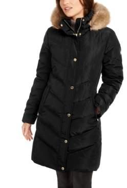 Michael Kors Michael Chevron Faux-Fur Trim Hooded Down Puffer Coat