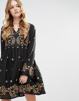 Glamorous Long Sleeved Skater Dress With Baroque Embroidery