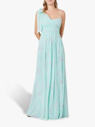 Maids To Measure Georgina Asymmetric Bow Dress, Misty Green Confetti Print
