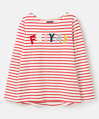 Joules Women's Tee Shirts - Cream & Red 'Friyay' Harbour Luxe Long-Sleeve Top - Women