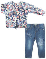 Jessica Simpson Set of Two Floral Printed Top and Jeans Set