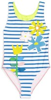 Stella McCartney Toddler Girl's Floral Stripe One-Piece Swimsuit