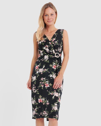 Forcast Ava Floral Belted Midi Dress