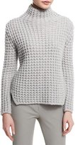 Armani Collezioni Popcorn-Knit Turtleneck Side-Split Sweater, Silver Gray