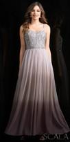 Scala Geometric Embellished Gathered Chiffon Prom Dress