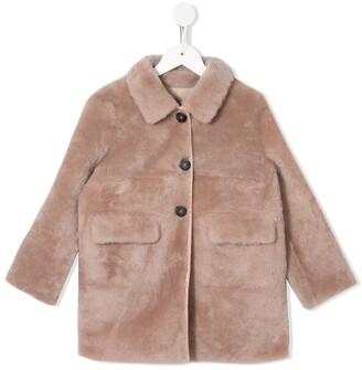 Yves Salomon Enfant Front Button Faux Fur Coat