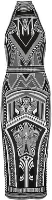 Balmain Black geometric-intarsia midi dress
