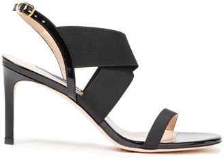 Stuart Weitzman Alana 75 Patent-leather And Stretch-knit Slingback Sandals