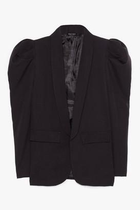 Nasty Gal Womens Nice to Meet You Puff Sleeve Blazer - Black - L