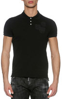 DSQUARED2 Pique Polo Shirt with Military Patches, Black