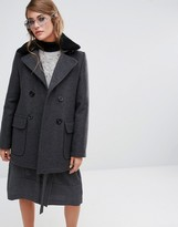 Gloverall Reefer Coat with Detachable Shearling Collar