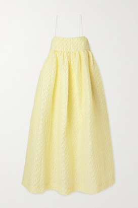 Cecilie Bahnsen - Beth Oversized Gathered Linen-blend Cloque Midi Dress - Pastel yellow