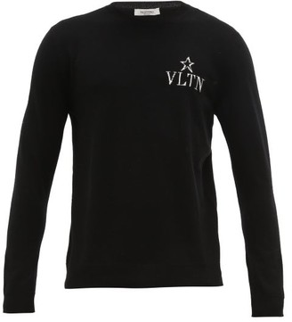 Valentino Vltnstar Logo-intarsia Wool-blend Sweater - Black White