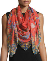 Etro Bombay Cashmere & Silk Shadow Floral Scarf, Red