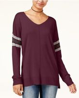 Hippie Rose Juniors' Stripe-Detail Tunic Sweater
