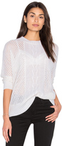 Enza Costa Oversize Basketweave Crew Neck Sweater