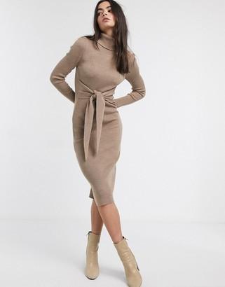 Asos Design DESIGN high neck dress with tie waist detail-Stone