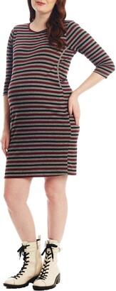 Everly Grey Estela Stripe Maternity/Nursing Dress
