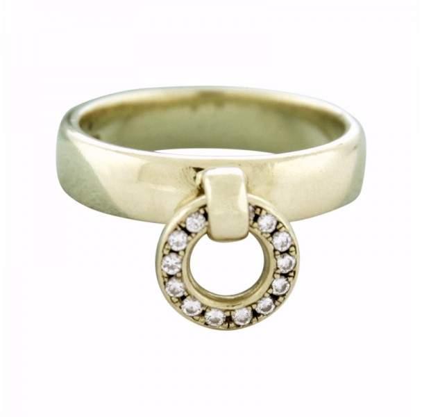 Tiffany & Co. 18K Yellow Gold & Diamonds Circle Drop Charm Band Ring Size 7