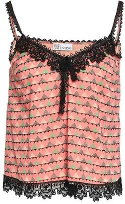 RED Valentino Crochet-trimmed Printed Silk-blend Crepe De Chine Camisole