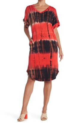 WEST KEI Tie-Dye V-Neck T-Shirt Dress