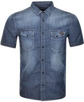 Superdry Biker Slim Short Sleeve Shirt Blue