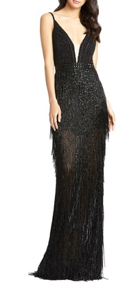 Mac Duggal Bead Stripe and Fringe Column Gown