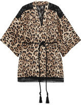 Roberto Cavalli Leopard-Print Silk-Blend And Corded Lace Robe