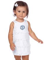 Princess Linens White Ruffle Monogram Shift Dress - Infant Toddler & Girls