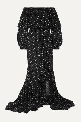 Balmain Off-the-shoulder Ruffled Polka-dot Silk-chiffon Maxi Dress - Black