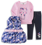 Kids Headquarters Baby Girls Dress, Vest and Pants Set