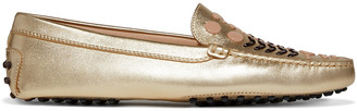 Tod's Studded Metallic Leather Loafers