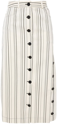 Altuzarra Striped Cotton-twill Midi Skirt