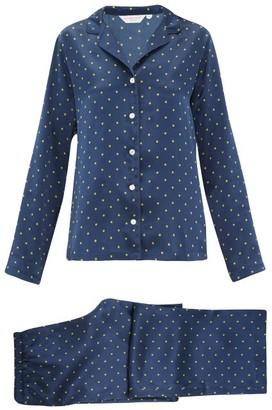 Derek Rose Brindisi Star-print Silk-charmeuse Pyjamas - Navy Print