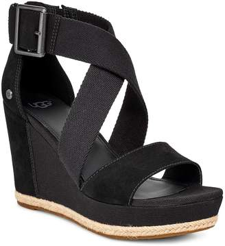 UGG Calla Wrapped Strap Buckle Sandal Wedge Shoes - Black