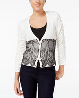 XOXO Juniors' Ruched-Sleeve Lace Cardigan