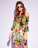 Lipsy Tropical Print Shirring Bardot Dress