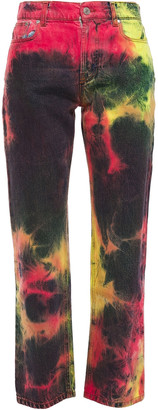 MSGM Tie-dyed High-rise Straight-leg Jeans
