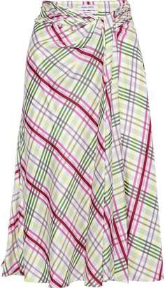 Prabal Gurung Moore Tie-front Checked Silk-twill Midi Skirt