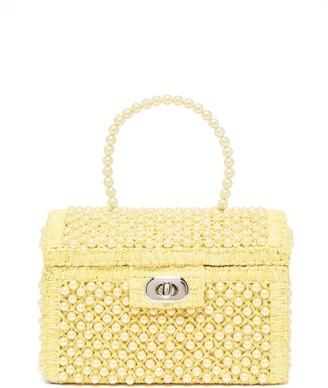 Shrimps Gaia Faux-pearl Treasure-chest Handbag - Pale Yellow