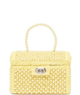 Shrimps Gaia Faux-pearl Treasure-chest Handbag - Womens - Pale Yellow