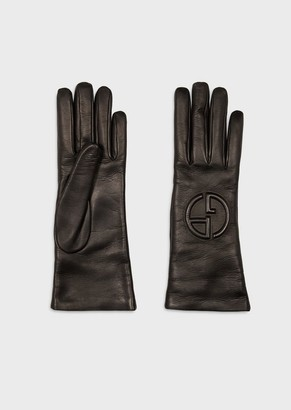 Giorgio Armani Leather Gloves With Embossed Logo