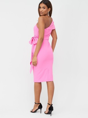 Very One Shoulder Structured Bodycon Dress - Pink