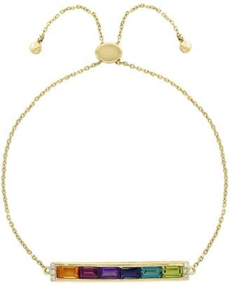 Effy 14K Yellow Gold, Rainbow Multi-Stone & Diamond Slider Bar Bracelet
